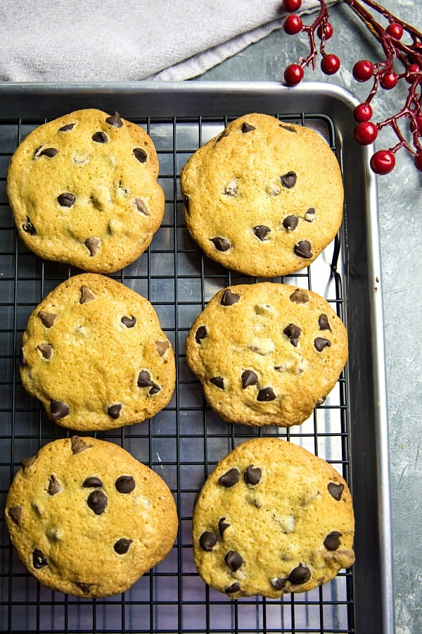 Chocolate Chip Cookies just like Grandma's - crispy and delicious made with simple wholesome ingredients and no chilling time! #mustlovehomecooking