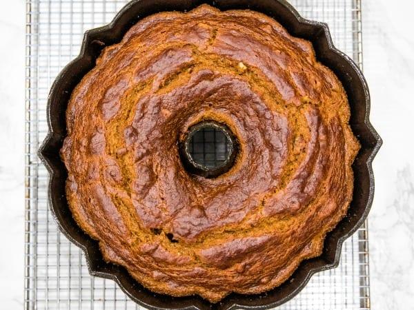 baked pumpkin cake in bundt pan