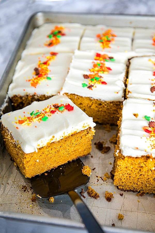 The Best Homemade Pumpkin Cake Ever - baked full of flavor with applesauce and spices then spread with a thick layer of tangy, smooth frosting.