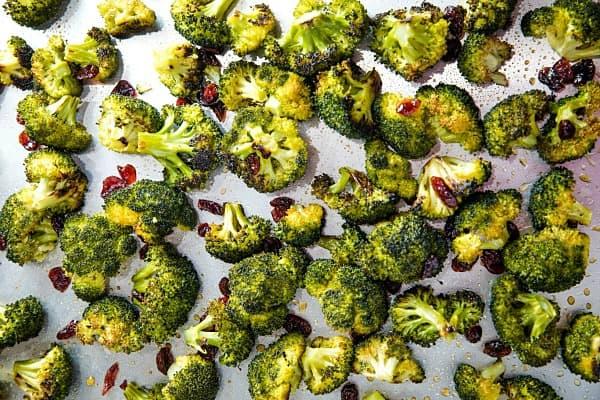Maple Mustard Broccoli roasted on sheet pan