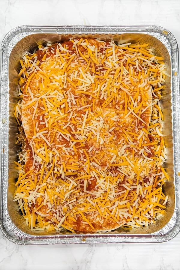 Layering mexican lasagna in foil pan for freezing