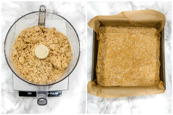 crumb mix in food processor and pressed into baking pan for crumb bars
