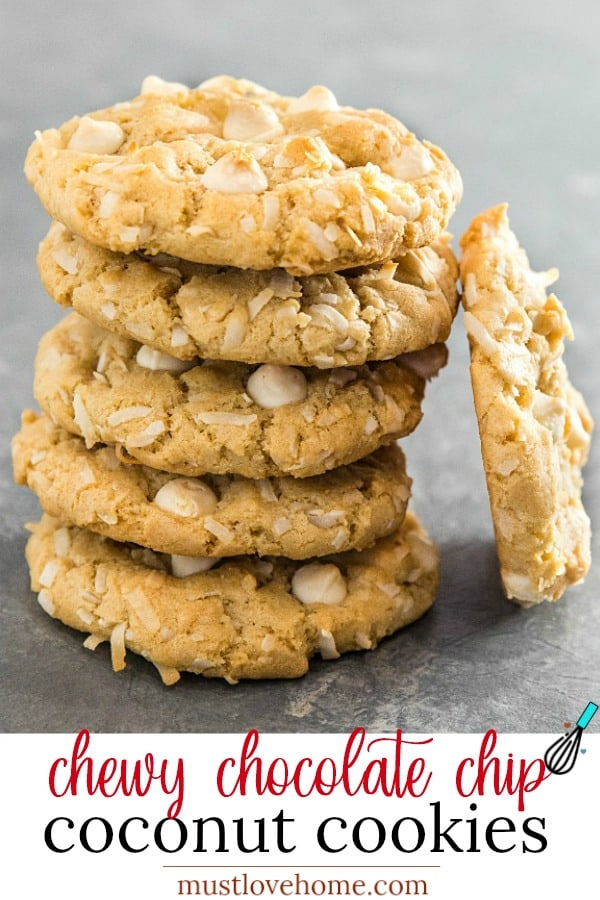 Chewy Chocolate Chip Coconut Cookies are crisp and buttery on the outside with an irresistibly soft and chewy inside. A holiday favorite and great for gift giving too! #mustlovehomecooking