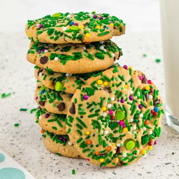 Sprinkle Chocolate Chip Peanut Butter Cookies with lots of peanut butter, mini chocolate chips and sprinkles make them so flavorful and festive for the holidays.