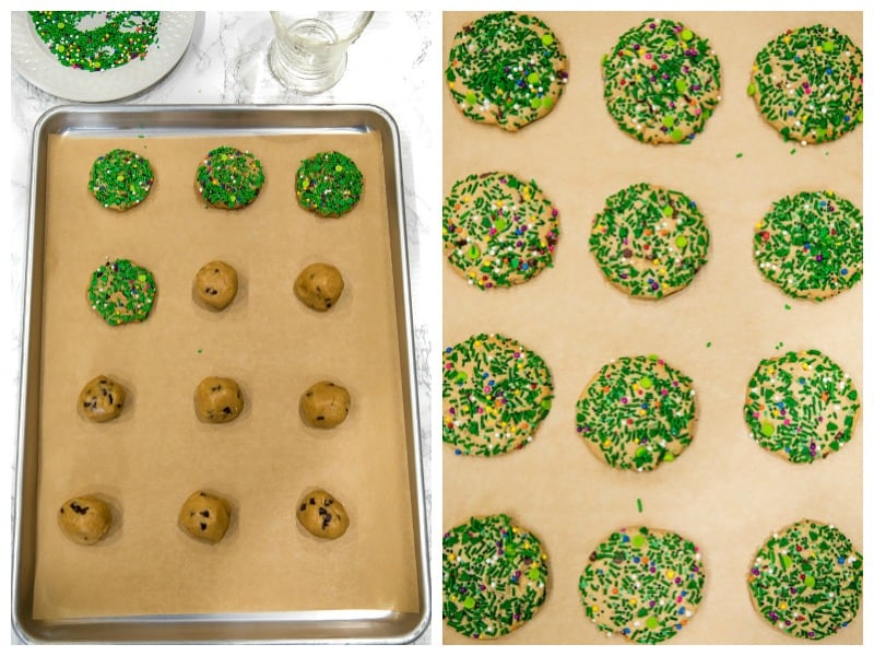 rolled cookies dough with sprinkles on sheet pan ready for the oven