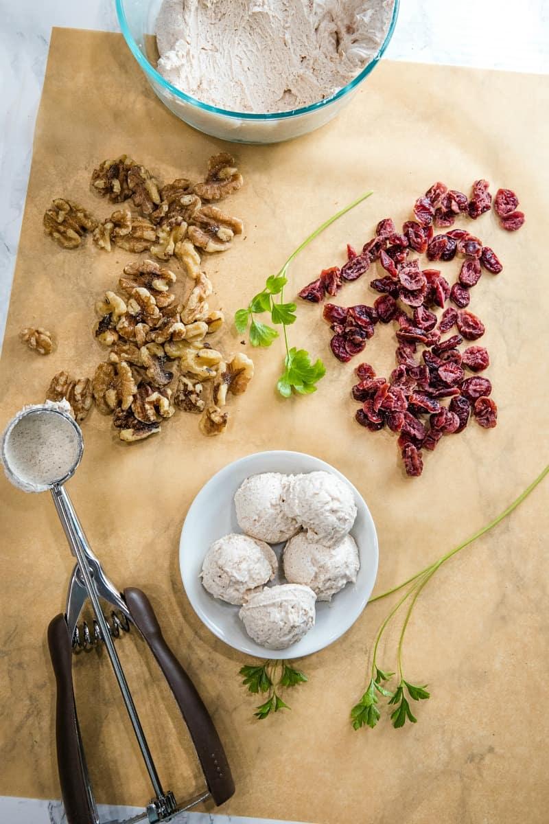 ingredients to make cranberry walnut goat cheese balls