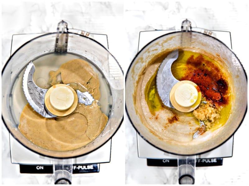 ingredients for hummus in food processor