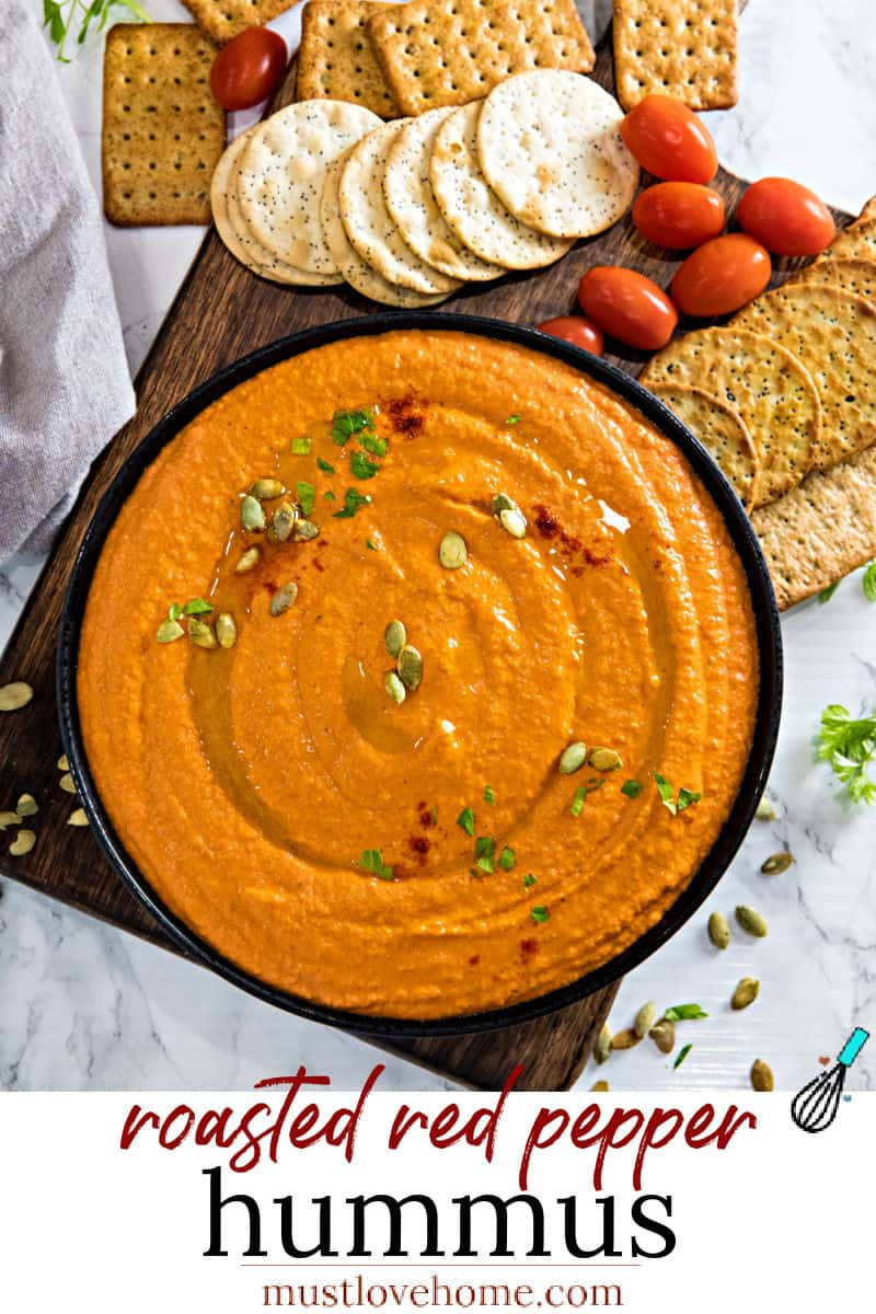 Easy Roasted Red Pepper Hummus recipe with tahini, chickpeas and spices is healthy, simple to make and so much tastier than store bought. Ready in 5 minutes! #nustlovehomecooking