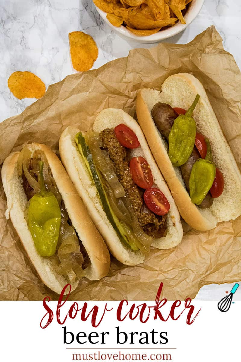Full of malt and garlic flavors, these slow cooker beer brats are one of the easiest and tastiest crock pot recipes you'll ever make. #mustlovehomecooking