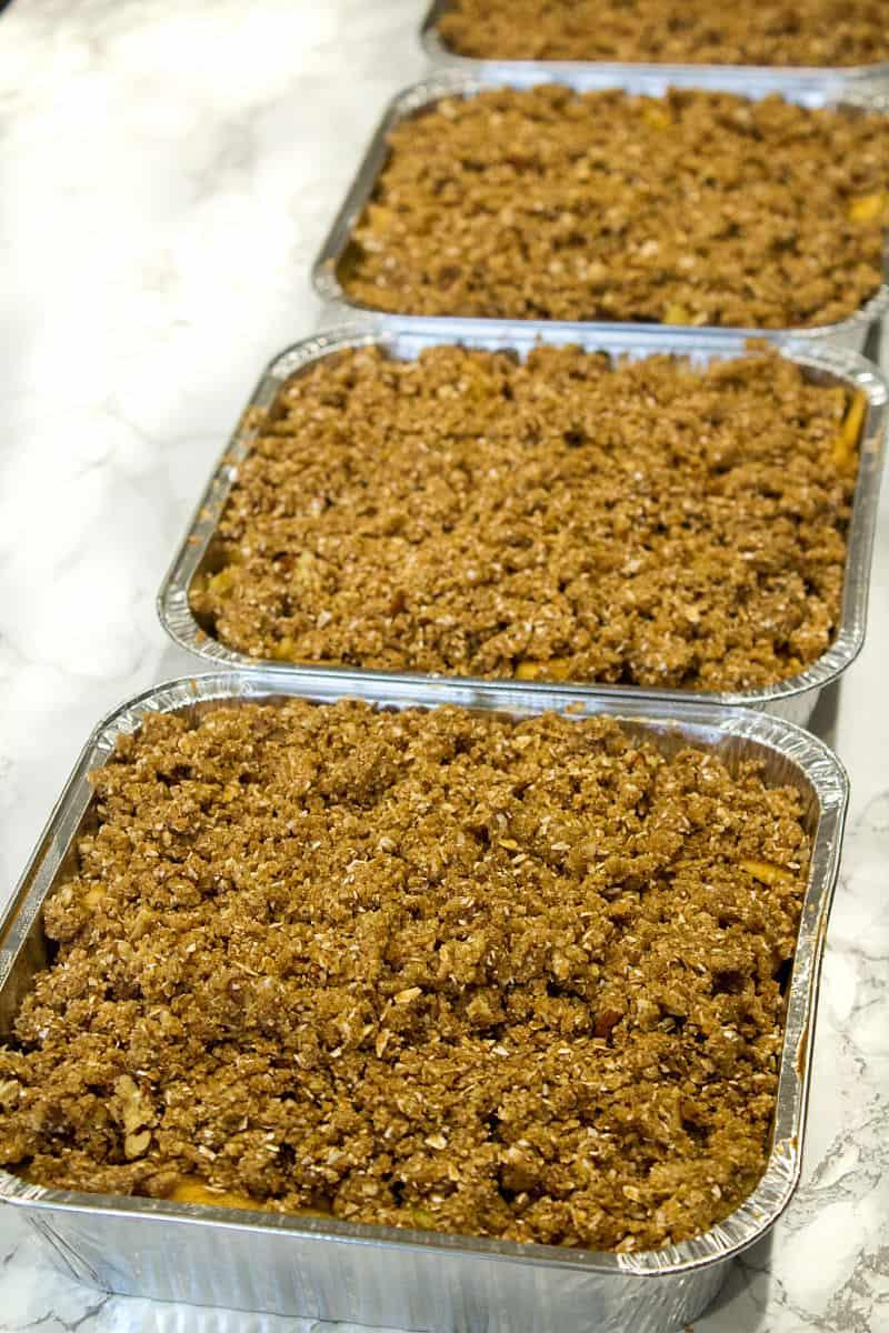 Apple crisp in foil pans ready for the freezer