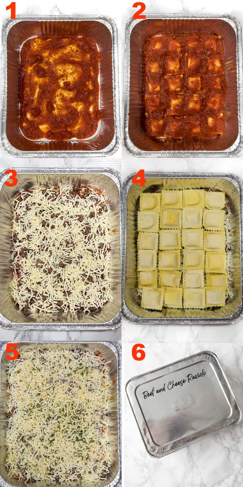 steps to make freezer ravioli in foil pan
