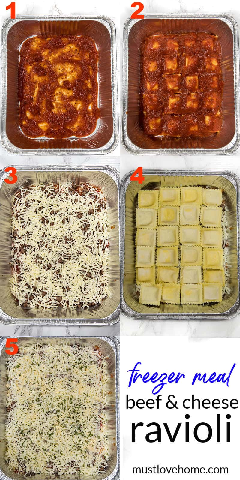 Dinner made easy with an easy freezer meal beef and cheese ravioli made with simple ingredients and a dash of spice. #mustlovehomecooking
