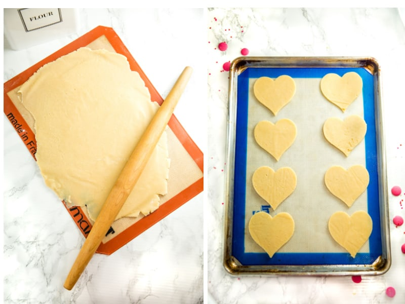rolling out cookie dough and sugar cookie dough on blue baking mat