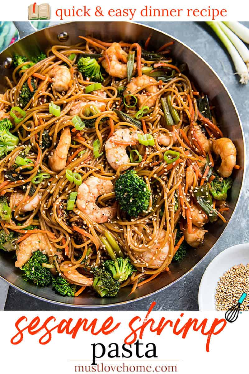 Quick and easy pan fried shrimp and vegetables, tossed with pasta and coated with an addictive spicy sesame sauce.. #mustlovehomecooking