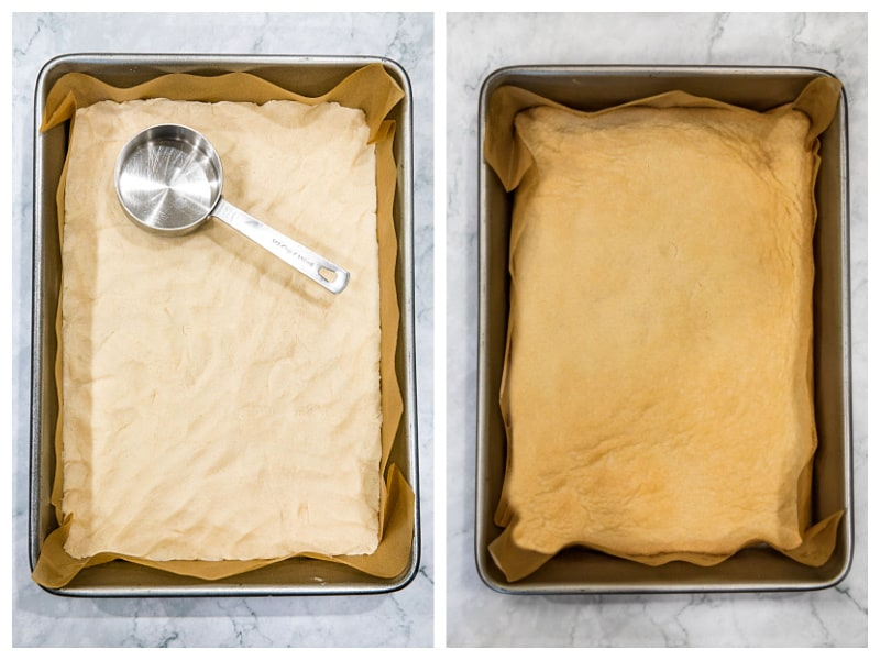 Unbaked and baked shortbread crust for easy lemon bars in 9 x 13 metal pan