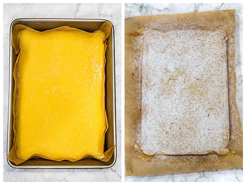 Lemon filling and baked lemon bars sprinkled with powdered sugar for easy lemon bars in 9 x 13 metal pan