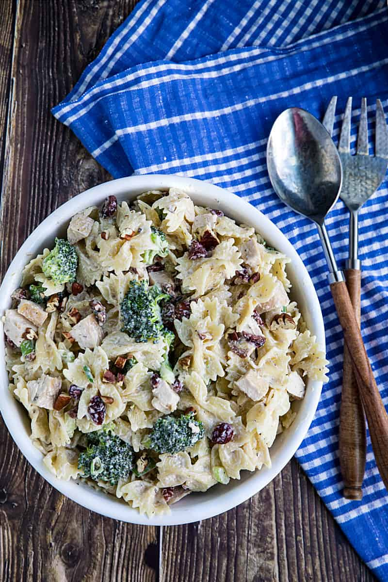 This chunky Broccoli Chicken Pasta Salad combines broccoli salad and chicken salad into one delicious dish that can be eaten on it's own or perfect as a side. #mustlovehomecooking
