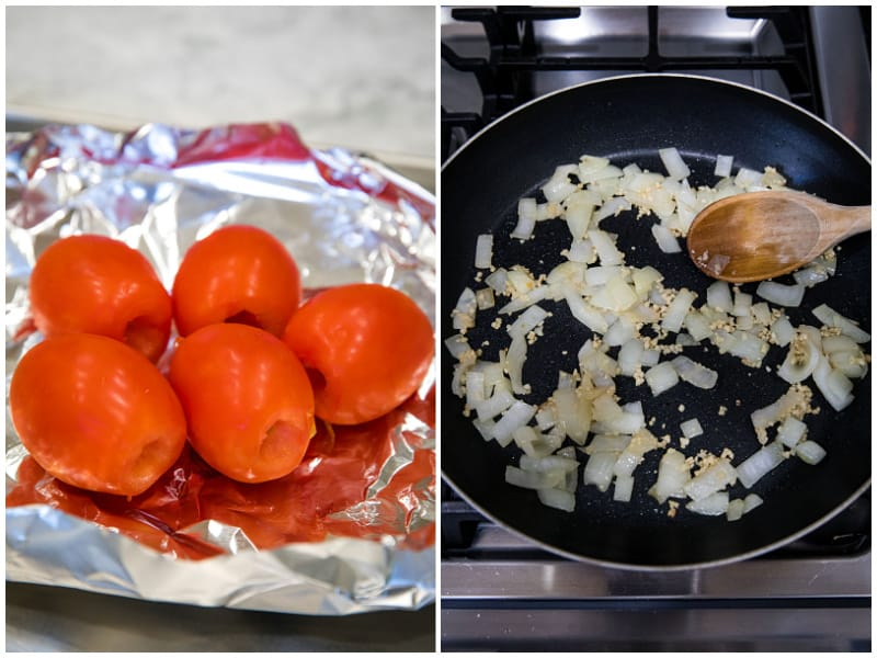 roasting tomatoes and cooking onion and garlic in skillet for chipotle enchilada sauce