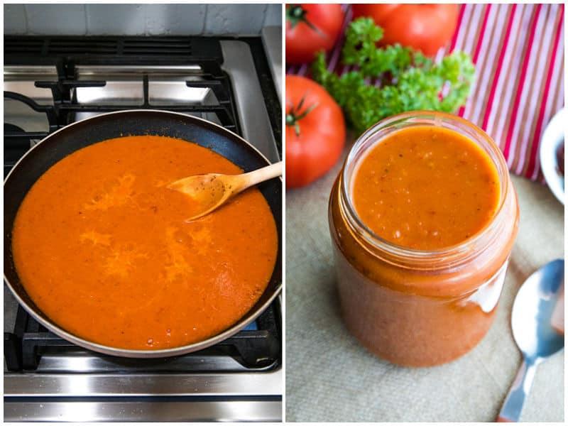 simmering enchilada sauce in skillet and transferring to mason jar for storing.