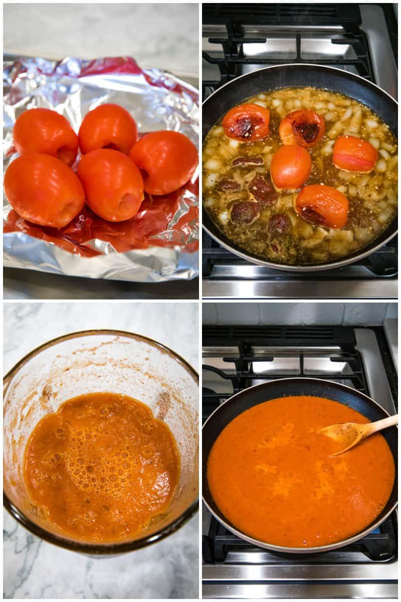 Steps of making chipotle enchilada sauce