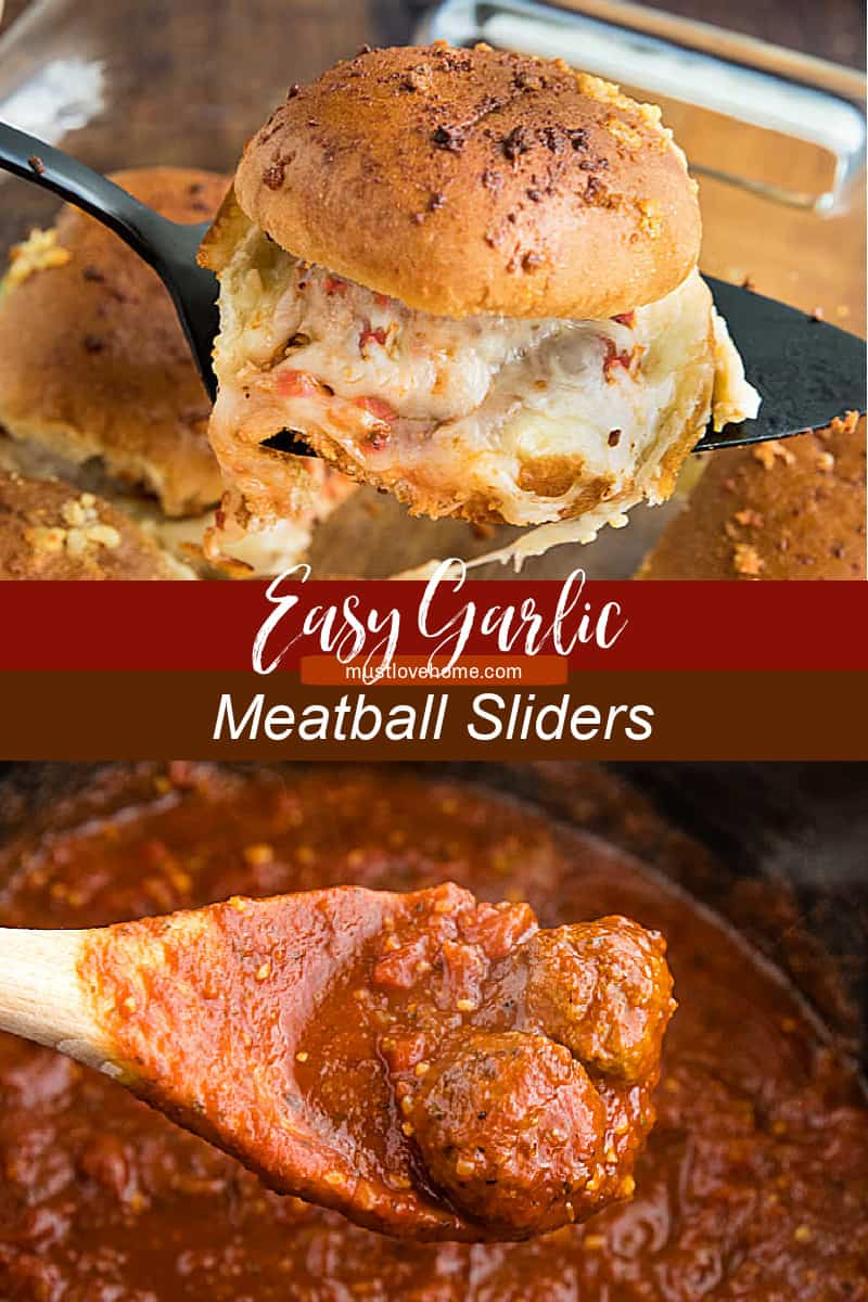 Hot and meaty Easy Garlic Meatball Sliders are oozing with melty cheese and garlic bread flavor. An irresistible game day and party snack! #mustlovehomecooking